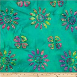 Indian Batik Large Floral Jade/Pink/Lime