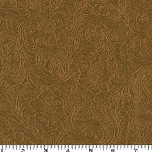 Faux Leather Fabric Tooled Floral Saddle Brown