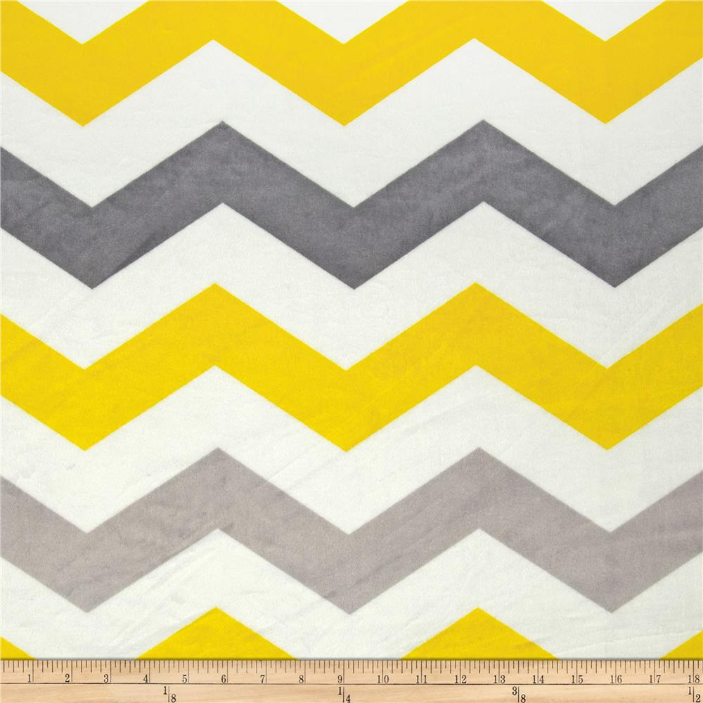 Minky large chevron grey yellow silver discount designer for Grey baby fabric
