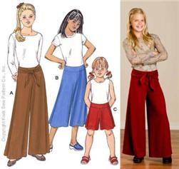 Kwik Sew Girls' Wide-Legged Pants Pattern