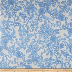 Floral Scrolls Lace Light Blue/White