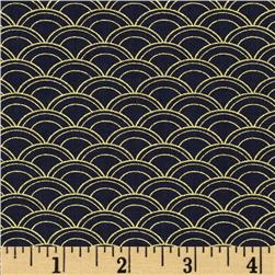 Timeless Treasures Imperial Garden Metallic Scallop Navy