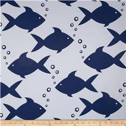 RCA Blackout Drapery Fabric Fish Navy