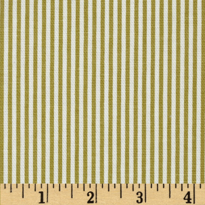 Magnolia Home Fashions Ticking Stripe Pasture Green Fabric