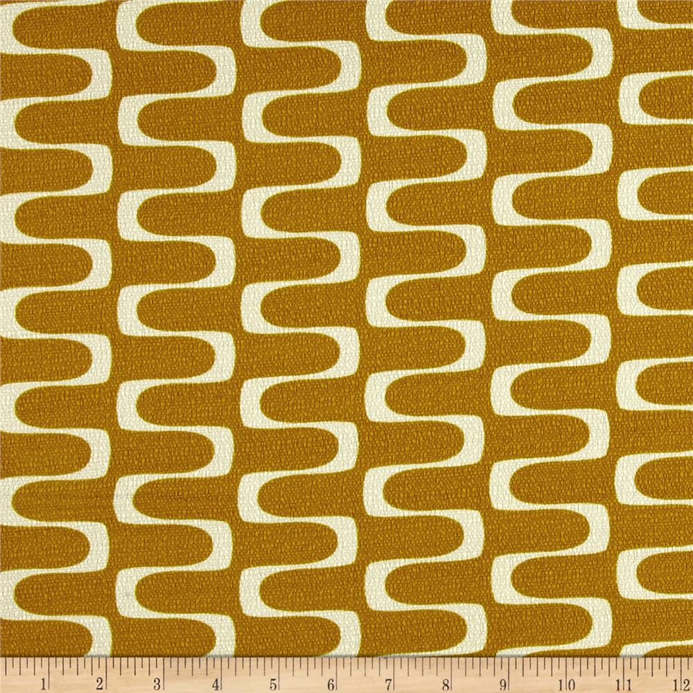 Cloud 9 Organic In Theory Barkcloth Wavelength Gold