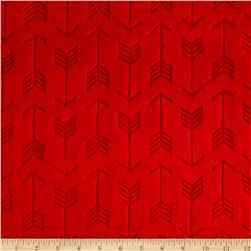 Shannon Minky Cuddle Embossed Arrow Scarlet