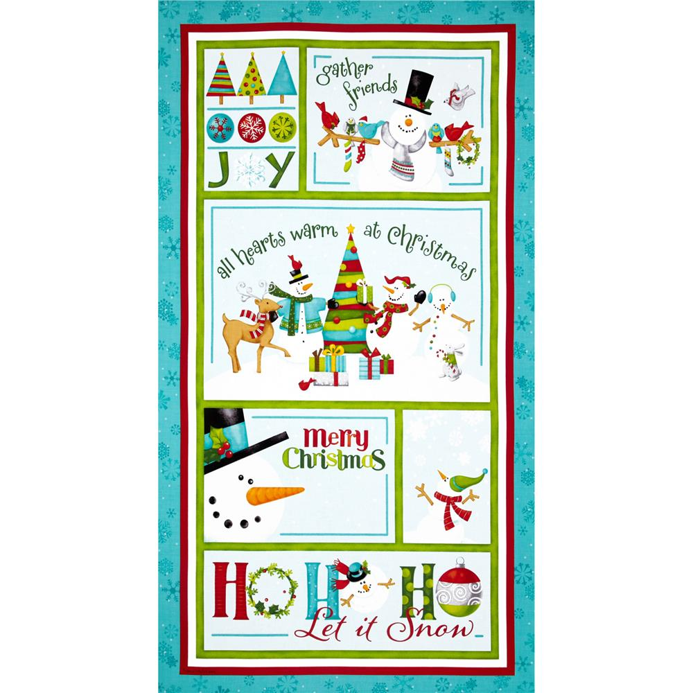 Ho Ho Ho Let It Snow Panel Aqua/Multi