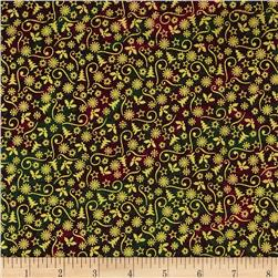 Marblehead Glistening Metallics III Mini Designs Green/Red Fabric