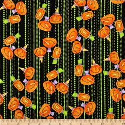Hocus Pocus Pumpkin Stripe Lime Fabric