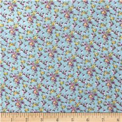 Chiffon Print Flowers Allover Sky Blue/Purple