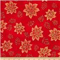 Robert Kaufman Winters Grandeur Metallic Snowflakes & Leaves Red