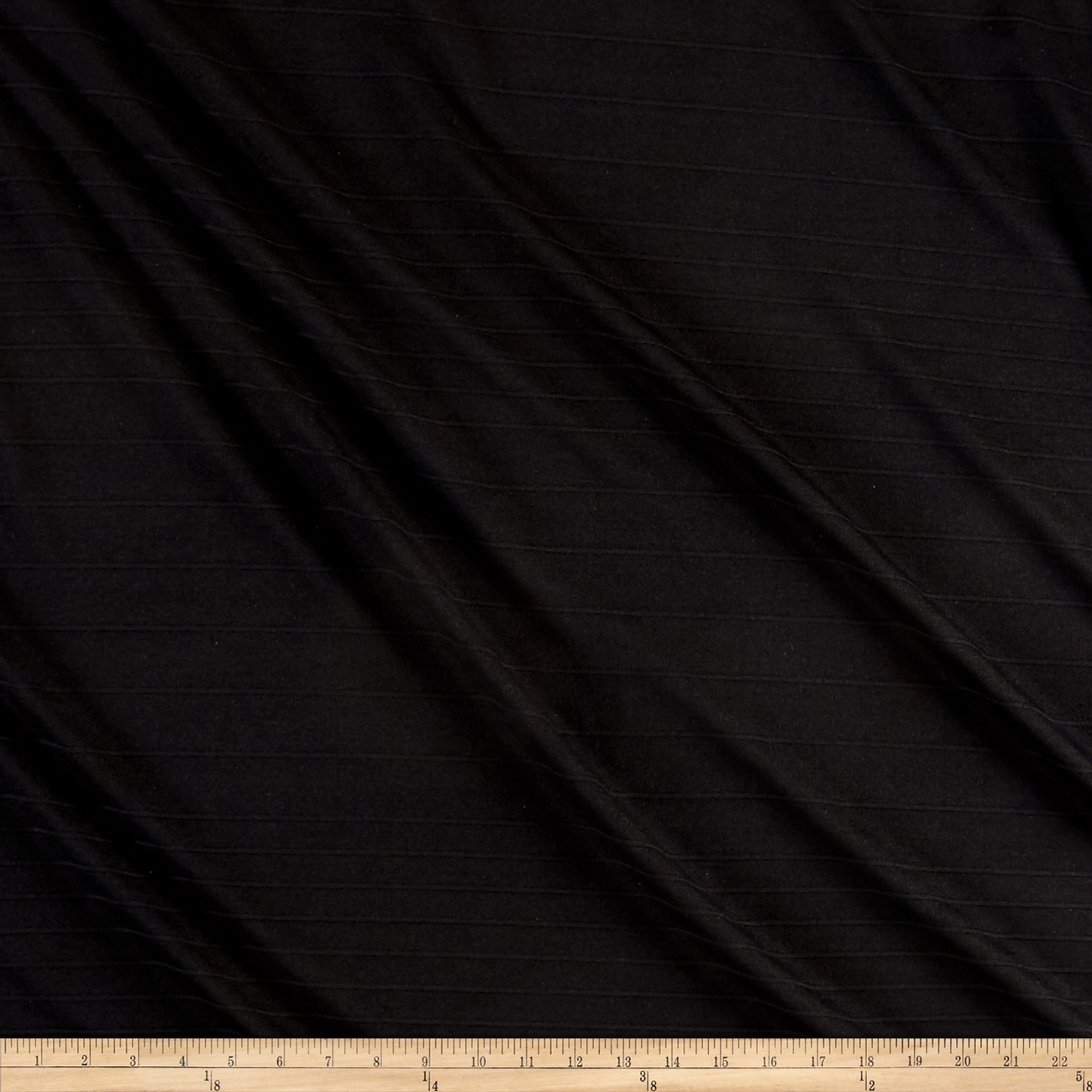 Image of Double Knit Stripe Black Fabric