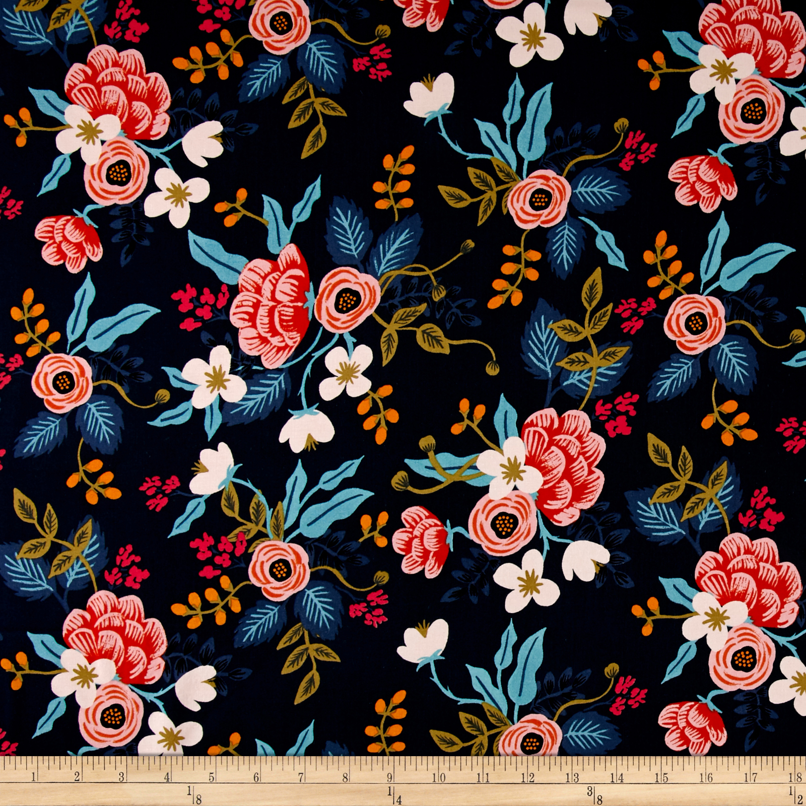 Image of Cotton + Steel Rifle Paper Co. Les Fleurs Rayon Challis Birch Floral Navy Fabric