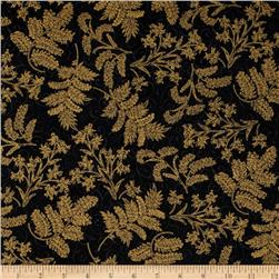 Berries and Blooms Metallic Christmas Thistle Black/Gold