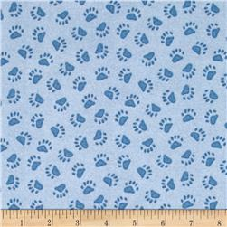 Boyds Bears Paw Print Blue Fabric