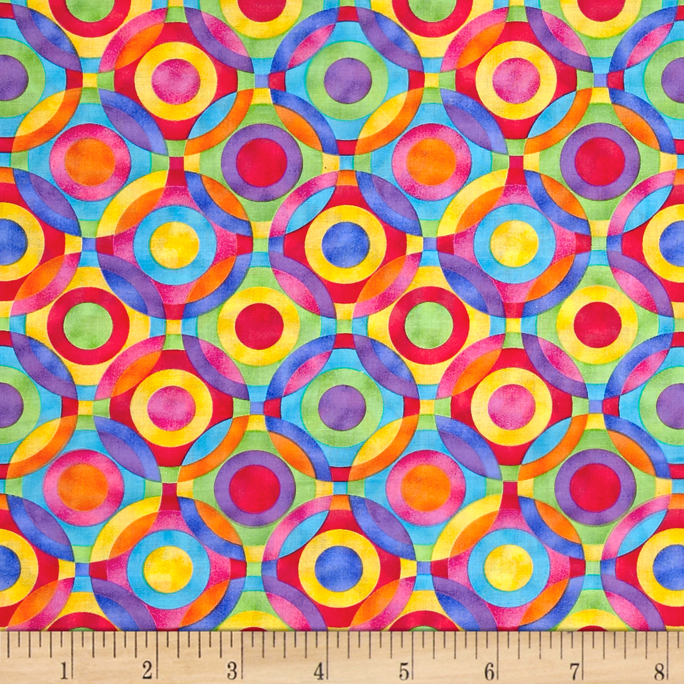 Rainbow Bright Geometric Circles Fabric by Fabric Traditions in USA