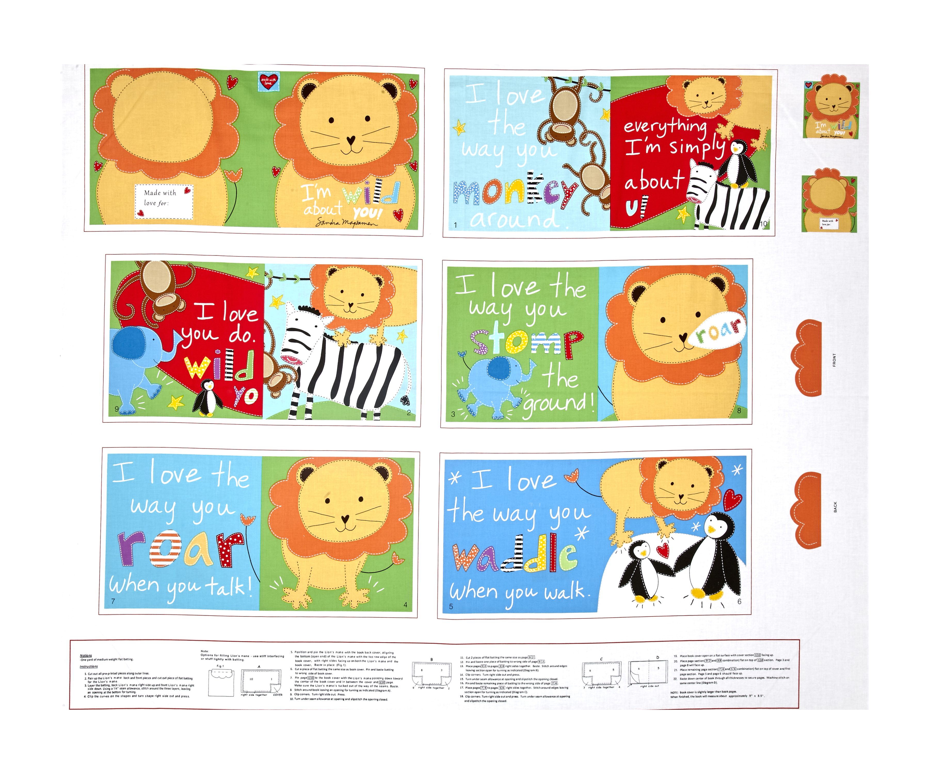 Image of Huggable & Loveable Books I'm Wild About You Soft Book 35.5'' Panel Multi Fabric