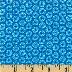 Kaufman In the Bloom Circle Blooms Turquoise