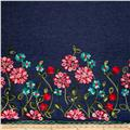 Telio Denim Embroidered Single Border Floral Red/Turquoise/Pink