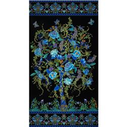 Timeless Treasures Tree of Life Metallic Eden Panel Black