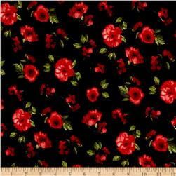 Liverpool Double Knit Mini Floral Black/Red/Green