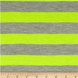 Yarn Dyed Jersey Knit Stripes Grey/Neon Lime