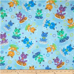 Flannel Frogs Lilypad Blue
