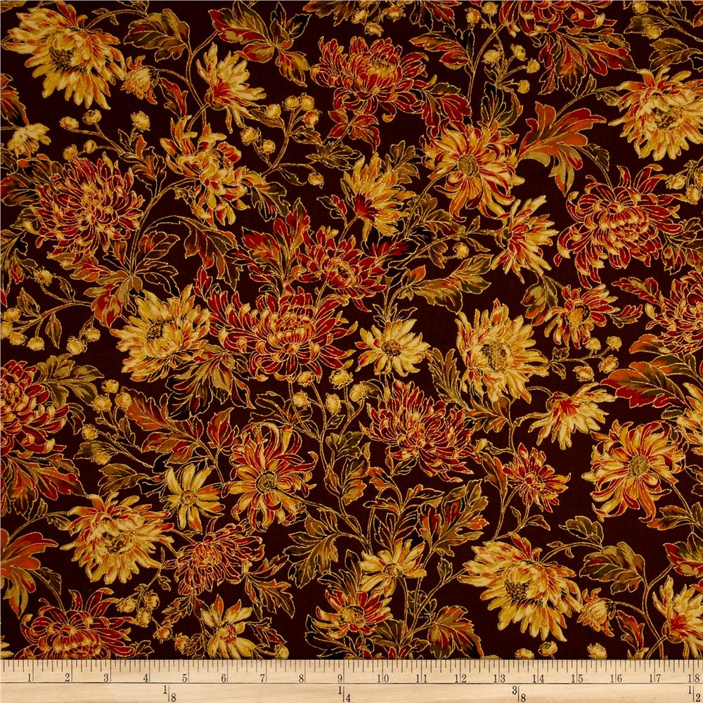 Moda Autumn Elegance Metallic Fall Blooms Cocoa