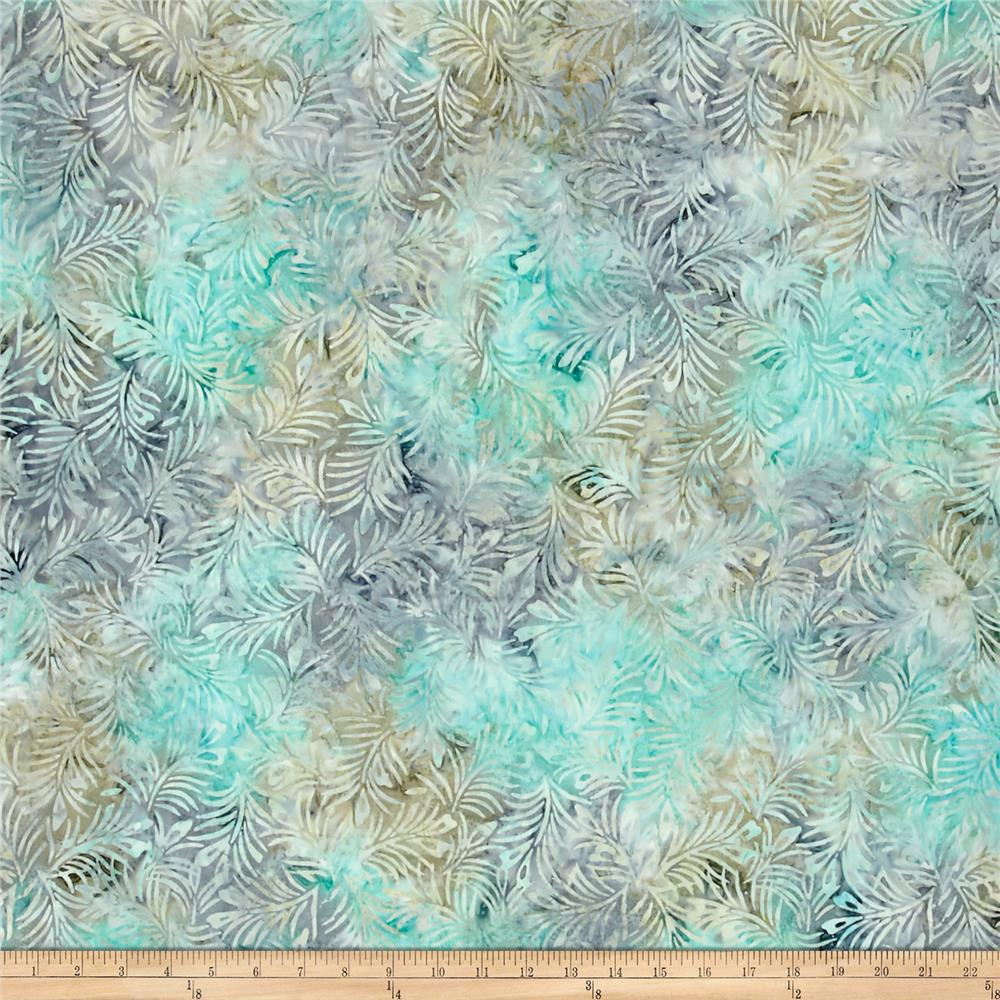 Wilmington Batiks Hearts and Ferns Tan/Blue