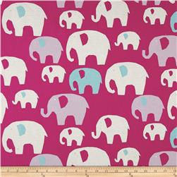 Kokka Trefle Linen Blend Canvas Elephants Raspberry