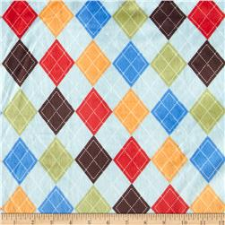 Minky Collegiate Argyle Blue