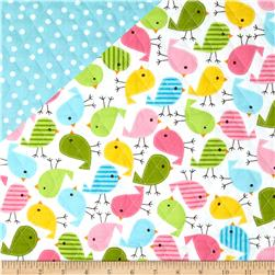 Urban Zoologie Double Faced Quilted Birds/Dots Multi Fabric