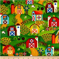 Barnyard Quilts All Over Barns Multi