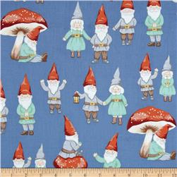 Christmas Time Gnome Sweet Gnome Blue Fabric