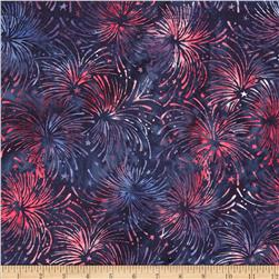 Island Batik Quilted in Honor Batik Fireworks Navy/Red