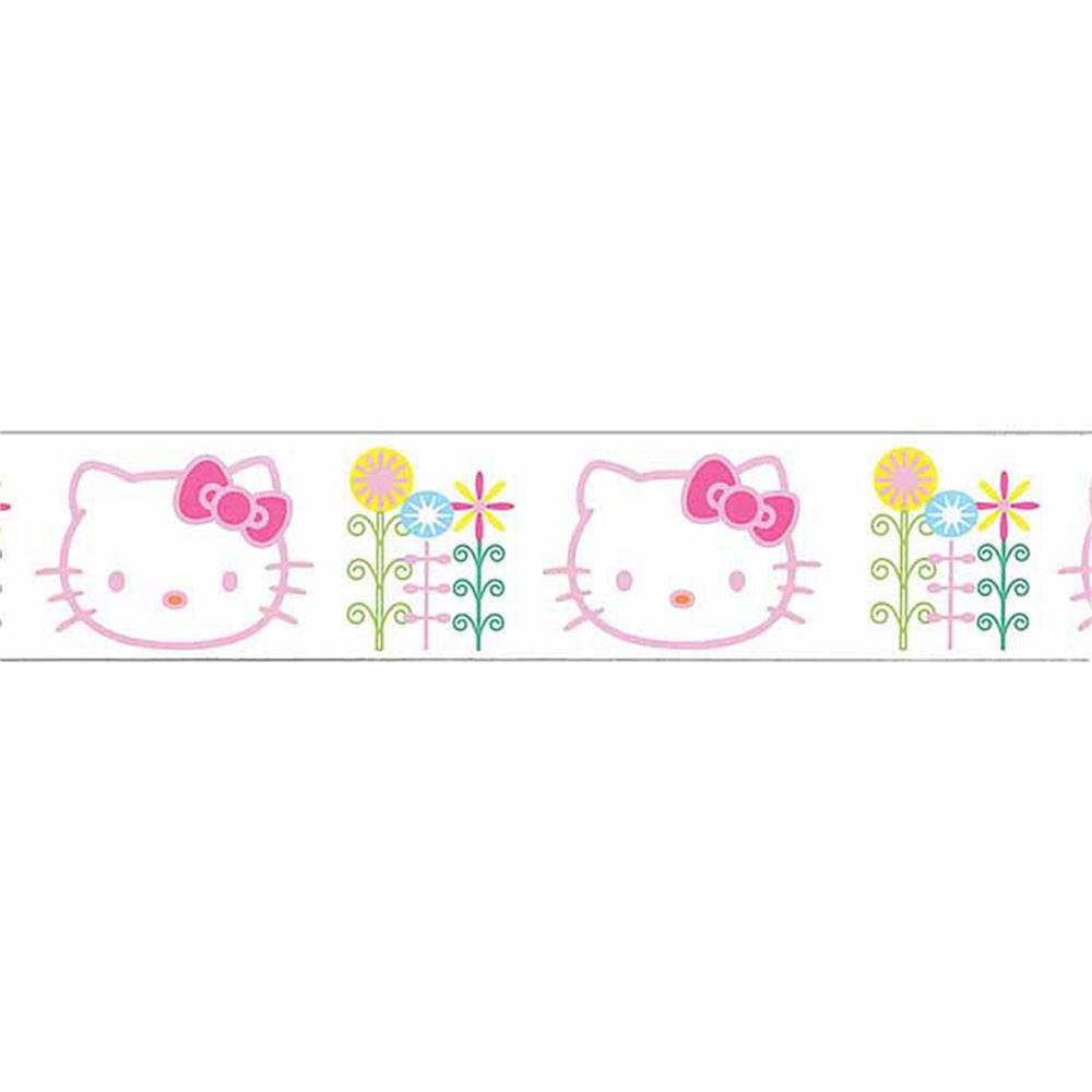 7/8'' Hello Kitty Flowers Ribbon White