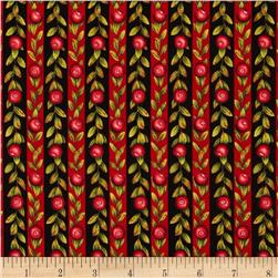 Fresh Cranberries Stripe Black