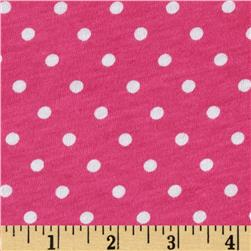 Cotton Jersey Knit Polka Dots Hot Pink/White