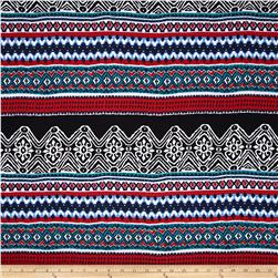Rayon Challis Aztec Navy/Black/Red/Jade