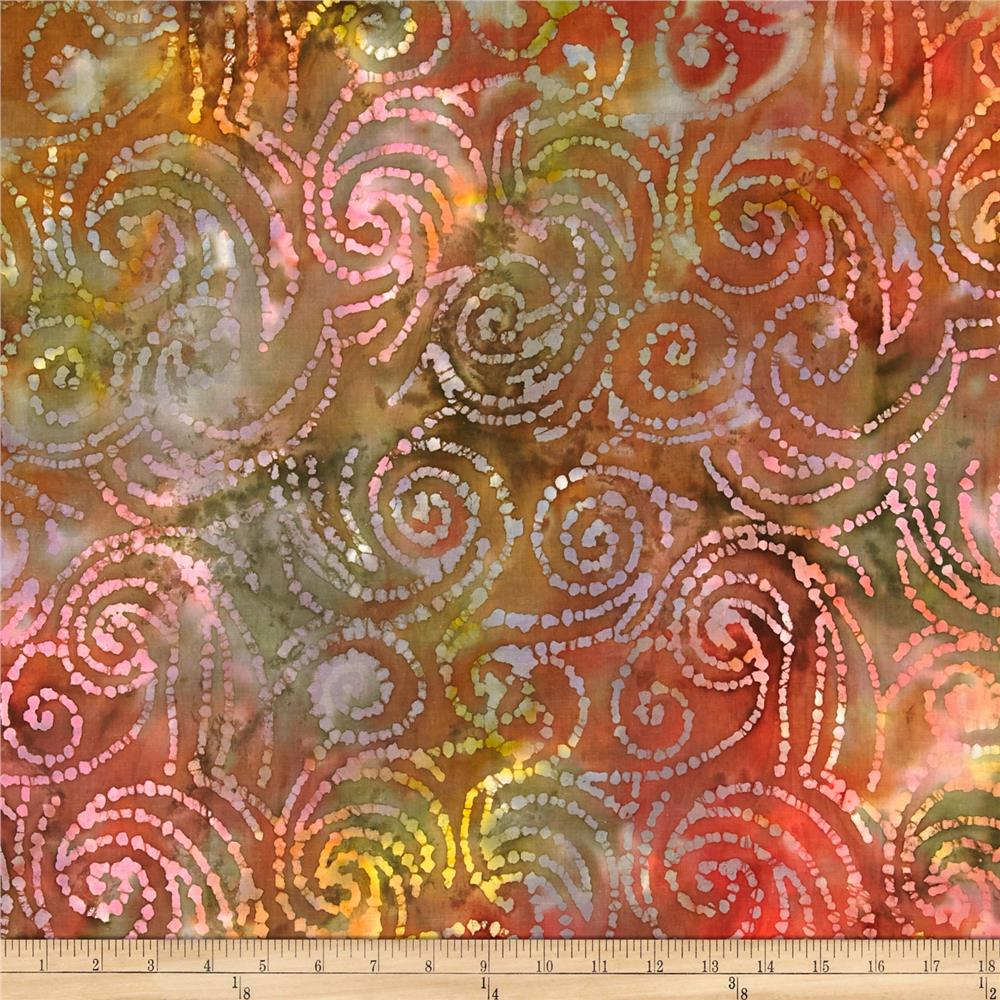 Indian Batik Swirls Pink/Brown