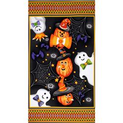 Happy Haunting Panel Black/Orange Fabric