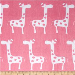 Premier Prints Minky Cuddle Giraffa Paris Pink/Snow Fabric