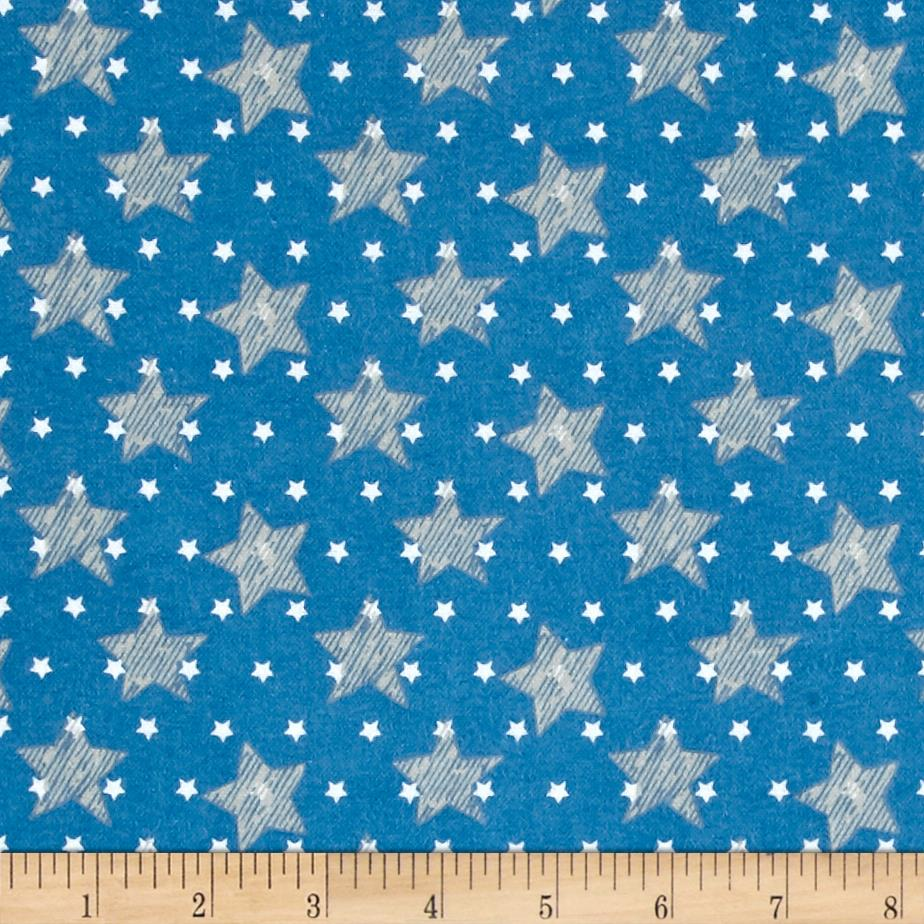 Comfy  Flannel Stars Blue Fabric
