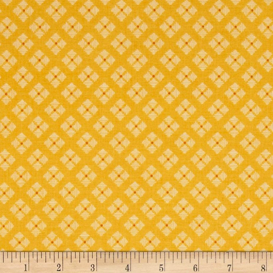 Riley Blake Bee Basics Stitched Flower Yellow