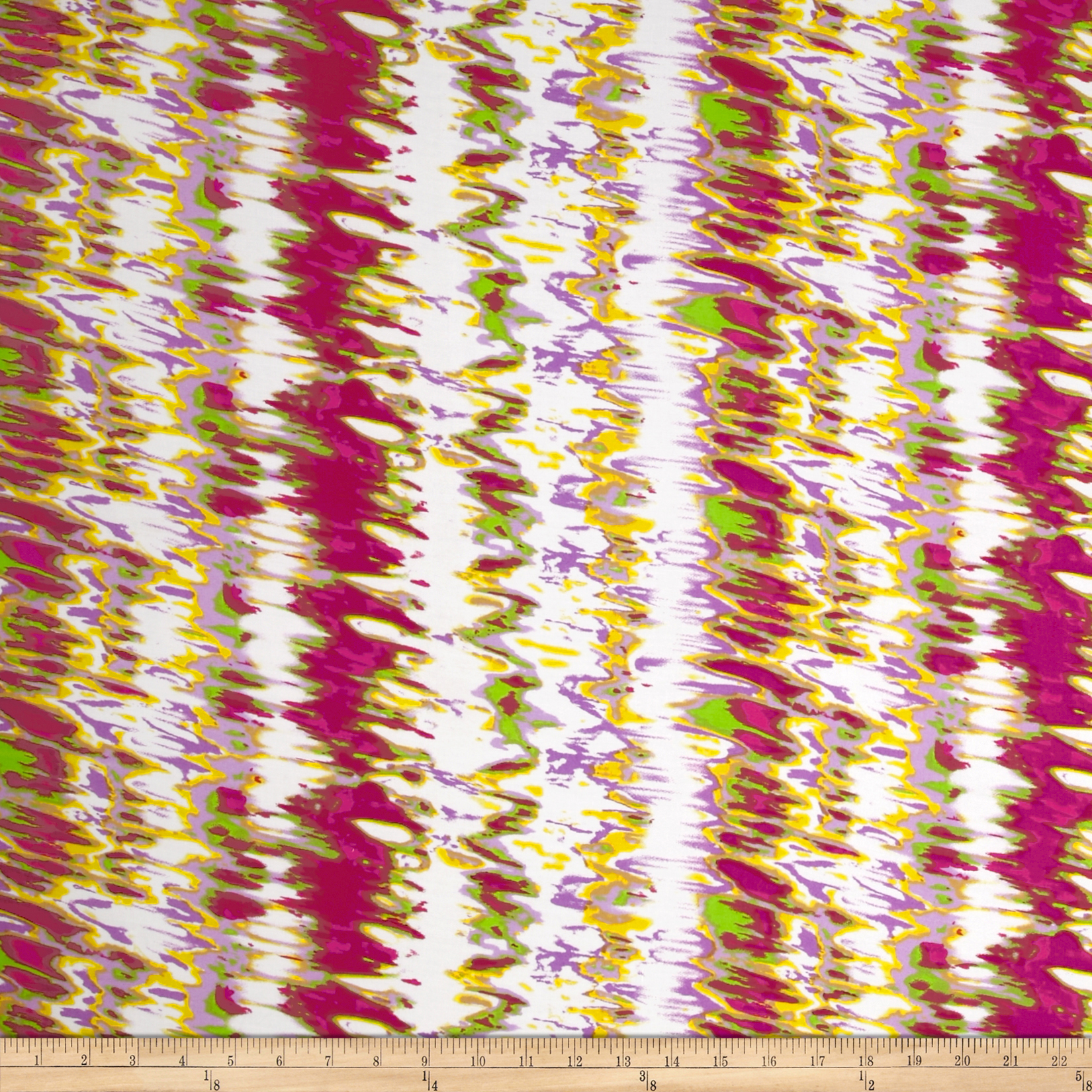 Designer Rayon Challis Blurred Lines Yellow/Purple Fabric