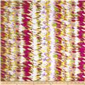 Designer Rayon Challis Blurred Lines Yellow/Purple