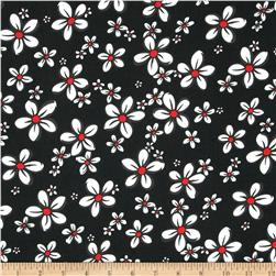 Poly Challis Floral Red/Charcoal/White