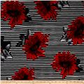 Brazil Stretch ITY Knit Floral/Stripe Print Red