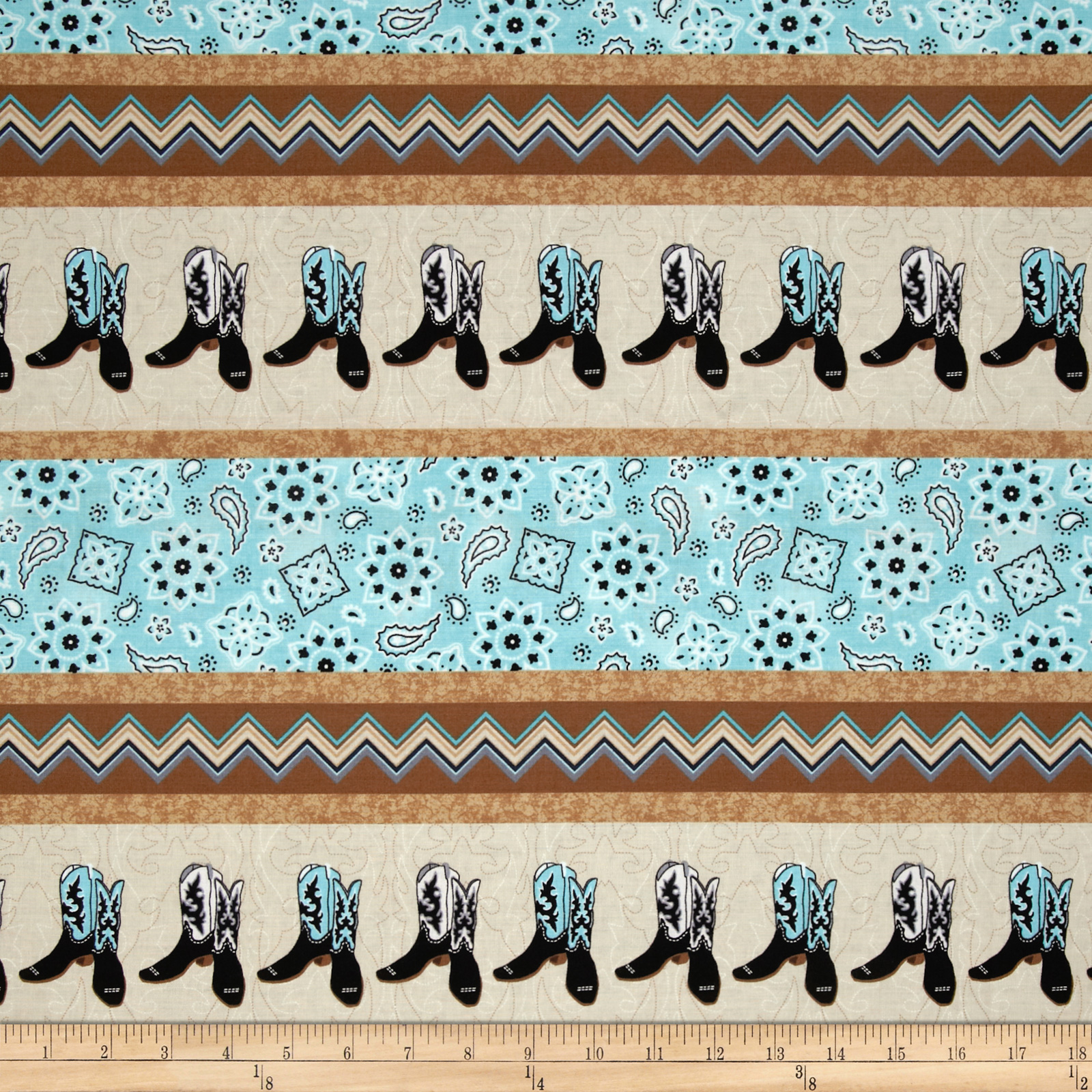 Cowgirl Up Boot & Bandana Stripe Tan/Turquoise Fabric