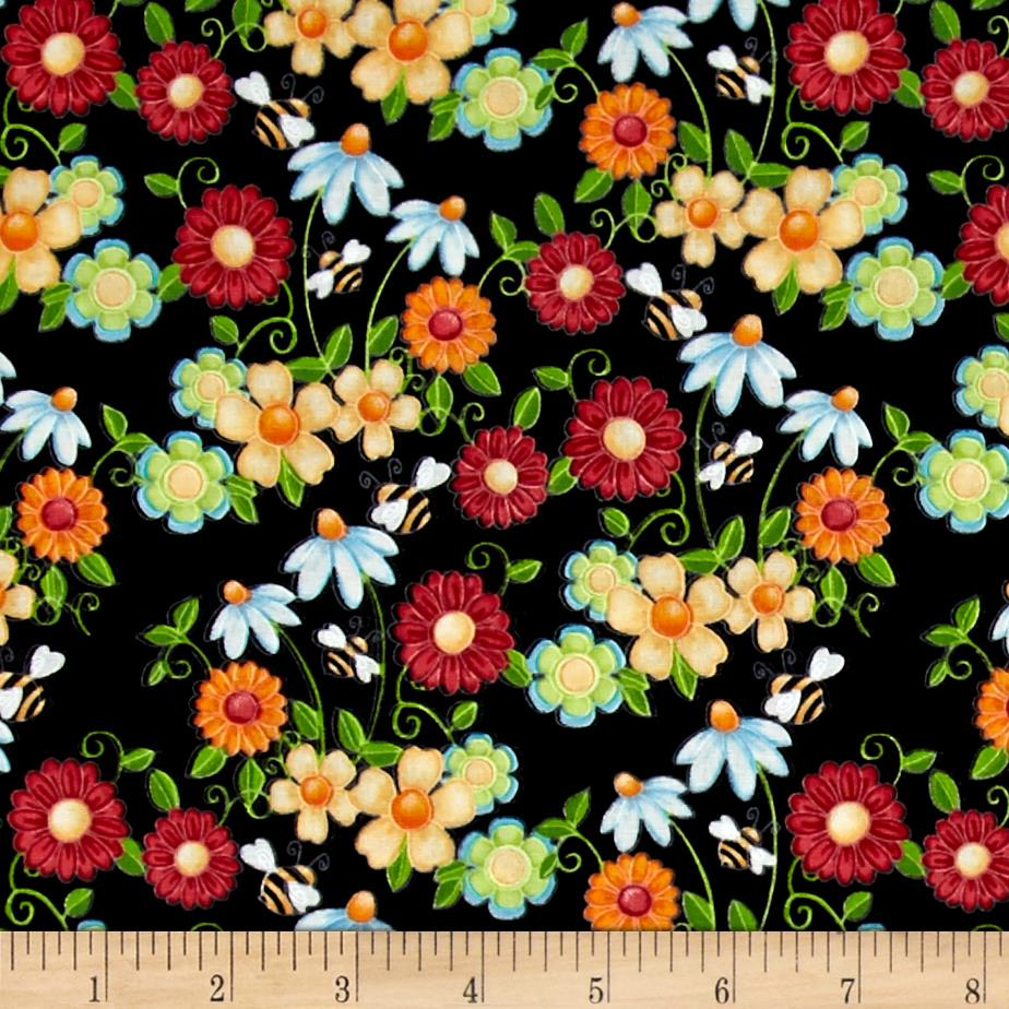 Birds n Bees Floral Black